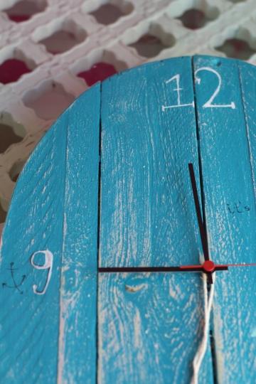 blue rustic wooden clock
